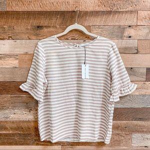 ASOS Striped Frill Short Sleeve Tee